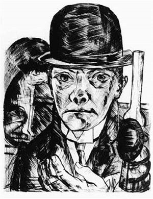 self-portrait in bowler hat by max beckmann