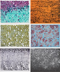 strong language (suite of 6 prints) by mel bochner