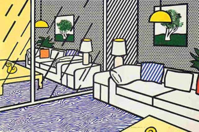 wallpaper with blue floor interior by roy lichtenstein