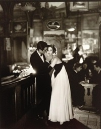 suzy parker and gardner mckay, dress by balmain, café des beaux-arts, paris, august (+ book, richard avedon: made in france) by richard avedon