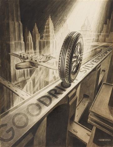bf goodrich silvertowns tire ad illustration by jose arentz