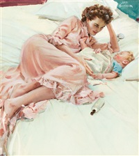 mother and child, pacific sheets ad illustration by john gannam