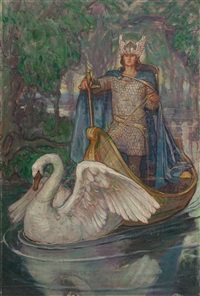 lohengrin, knight of the swan book cover by violet oakley
