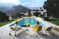 poolside gossip: lita baron, nelda linsk, and helen dzo dzo, palm springs by slim aarons