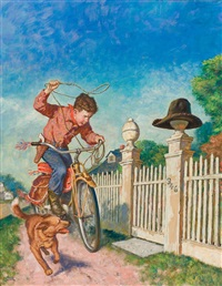 roping the hat, saturday evening post cover by amos sewell