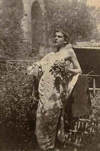 youth in a toga with flowers (37276) by baron wilhelm von gloeden