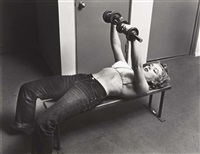 marilyn with barbells by philippe halsman