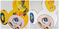 and then x6 (white: the superflat method, blue and yellow ears) (+ and then, and then and then and then and then. yellow universe.; 2 works) by takashi murakami