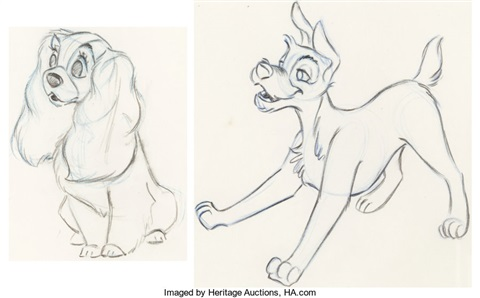 Lady And The Tramp Lady And Tramp Animation Drawings Group Of 2 Walt Disney 1955 By Walt Disney Studios On Artnet