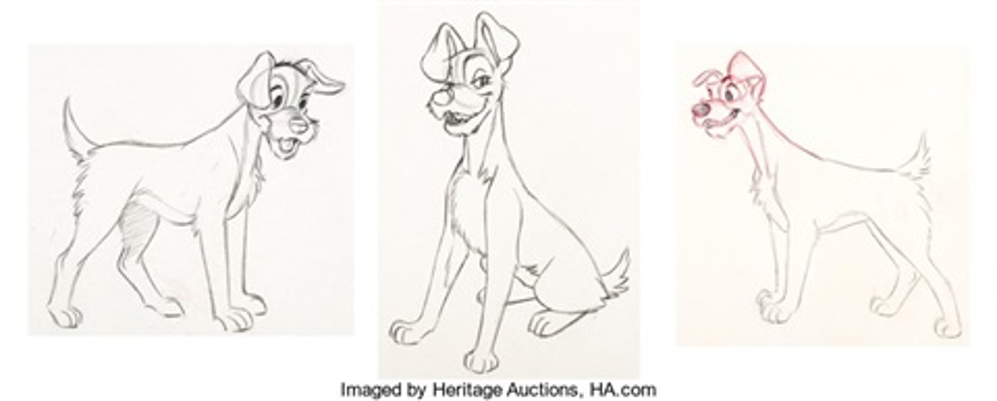 Lady And The Tramp Animation Drawings Set Of 6 Walt Disney 1955 Total 6 Original Art By Walt Disney Studios On Artnet