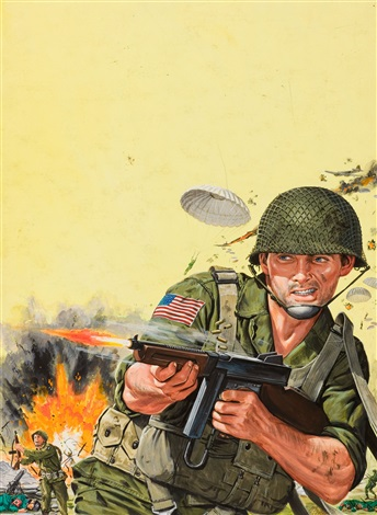 combat scene mens magazine illustration by bruce minney