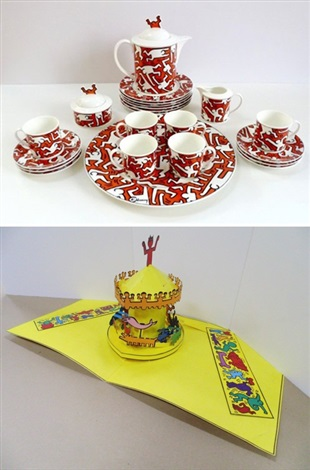 a piece of art coffee service luna luna 2 works by keith haring