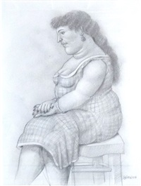 seated woman by fernando botero