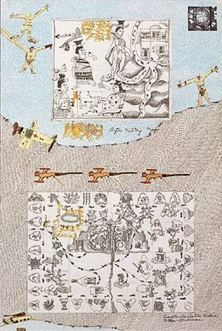 boys' art #16: aztec military map by joyce kozloff