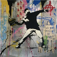 banksy thrower original by mr. brainwash