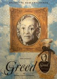 enjoy the new fragrance (meret oppenheim for greed) by francesco vezzoli