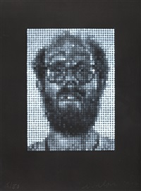self portrait/spitbite/white on black by chuck close