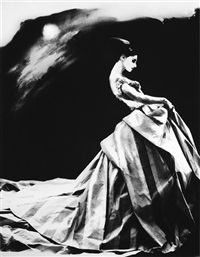 night bloom, anneliese seubert ball gown by john galliano for haute couture givenchy, pari by lillian bassman