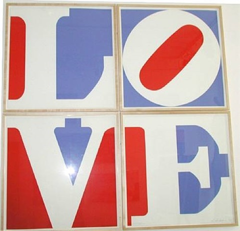 four panel wall love by robert indiana