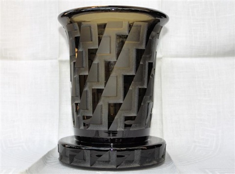 French Art Deco Etched Black Glass Vase On Base By Jean Luce On Artnet