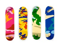 camouflage skate decks (4 works) by andy warhol