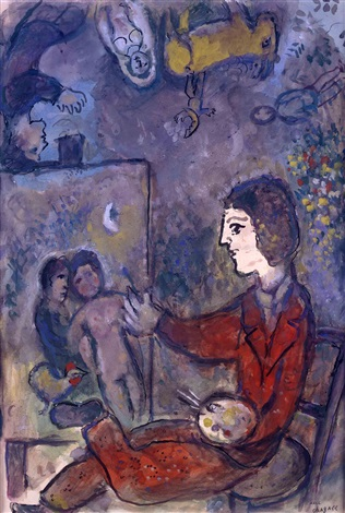 Le peintre en costume marron by marc chagall on artnet for Chagall peintre