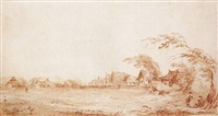 landscape with a view of a russian village by jean-baptiste le prince