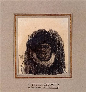 head of a man (lamme goedzak) by félicien joseph victor rops