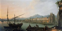 a view of palermo from the sea with the 'marino' and fashionable folk promenading by pietro fabris