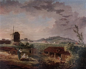 a view of montmartre from saint-lazare by hubert robert