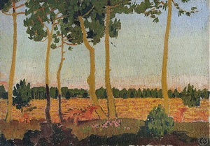 landscape near le pouldu, with a green sky by maurice denis