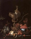 Cornelis de Bryer, STILL LIFE OF VARIOUS FRUITS ON A LEDGE WITH A GOLD MOUNTED NAUTILUS SHELL