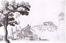 Giuseppi Santini, A LANDSCAPE WITH A TREE IN THE LEFT FOREGOUND AND FARM HOUSES ON A TUSCAN HILL