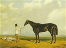 John Wray Snow, 'Retriever', a bay racehorse in a landscape with his trainer