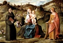 Girolamo da Santacroce, THE MADONNA AND CHILD WITH SAINTS ANTHONY OF PADUA AND CATHERINE IN A LANDSCAPE
