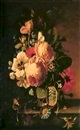 Wilhelm (Johann W.) Völker, A STILL LIFE OF FLOWERS ON A MARBLE EDGE