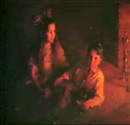 Marion Boyd Allen, A YOUNG GIRL AND BOY BY THE FIRESIDE
