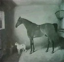 George Jackson, A BAY HUNTER IN A STABLE WITH A TERRIER