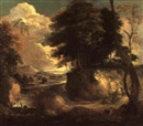 Attributed To Philippe Van Dapels, Waldlandschaft mit Bach