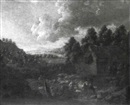 Maximilian Blommaerdt, WOODED RIVER LANDSCAPE WITH HERDSMEN