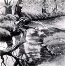 Chloe Elizabeth Talbot Kelly, Kingfisher on a branch above a river
