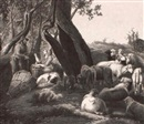 Ach. C. Pacini, Arcadian Scene; Shepherd and Shepherdess with Sheep