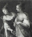 Circle Of Giovanni Andrea Ansaldo, Two elegant ladies discoursing