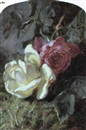 Martha Darley Mutrie, Roses and a ladybird on a mossy bank
