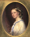 Reginald Easton, Portrait of a lady in blue-trimmed dress