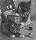 John Valentine, Two kittens playing with a sewing box