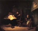 Jacob van Spreeuwen, Interior with the scholar and an old woman spinning beside a fire