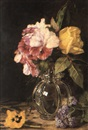 Martha Darley Mutrie, Roses, heliotrope and pansy in a glass vase