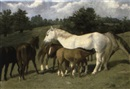 Richard Quick, Mares and foals in a landscape
