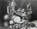 Clara L. Maxfield, Still life of tankard, fruit and nuts on table